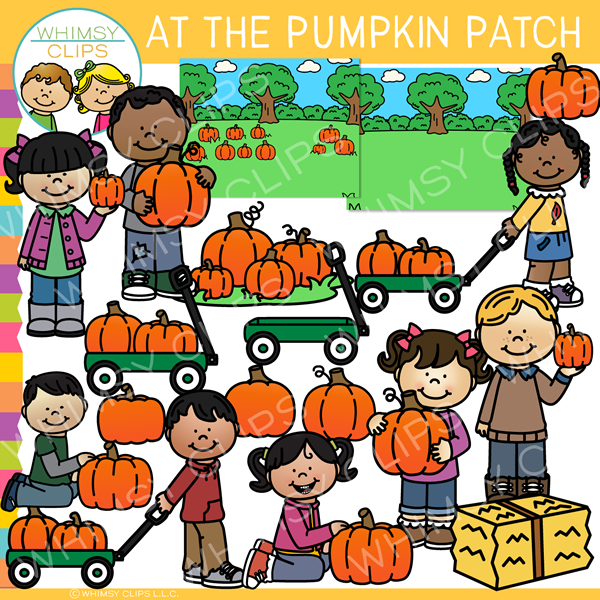 At the Pumpkin Patch Clip Art