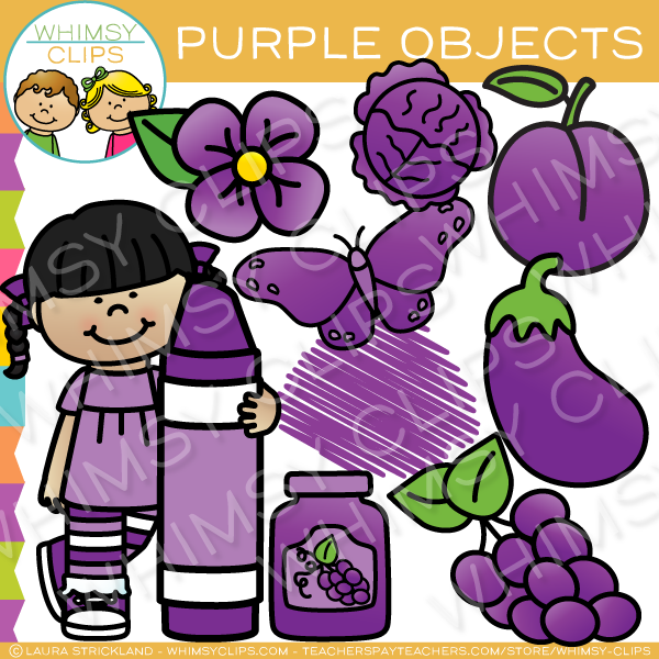 Purple Color Objects Clip Art