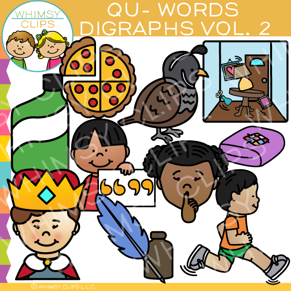 Beginning Qu-Words  Clip Art - Digraphs Volume Two