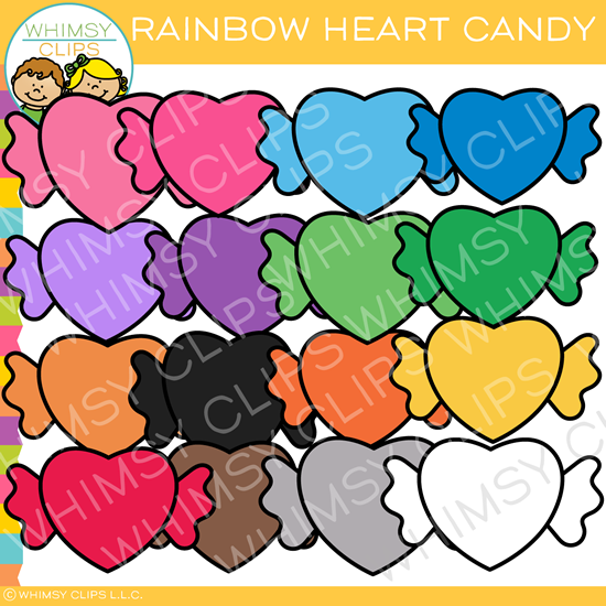 Rainbow Valentine Heart Candy Clip Art