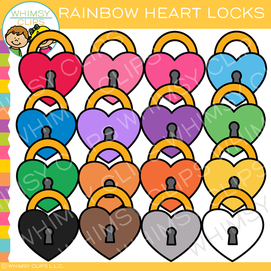 Rainbow Valentine Heart Lock Clip Art