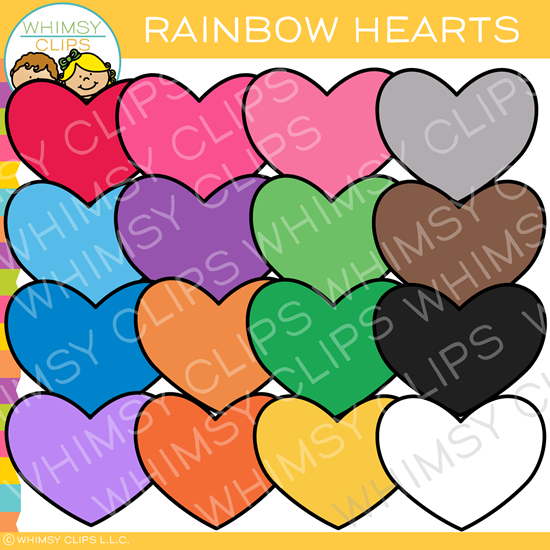 Rainbow Valentine Hearts Clip Art