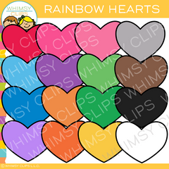 Colorful Rainbow Hearts Clip Art