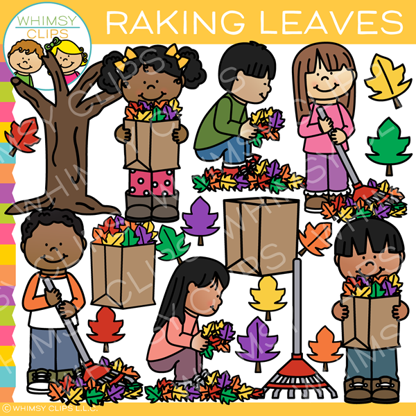 Kids Raking Leaves Clip Art