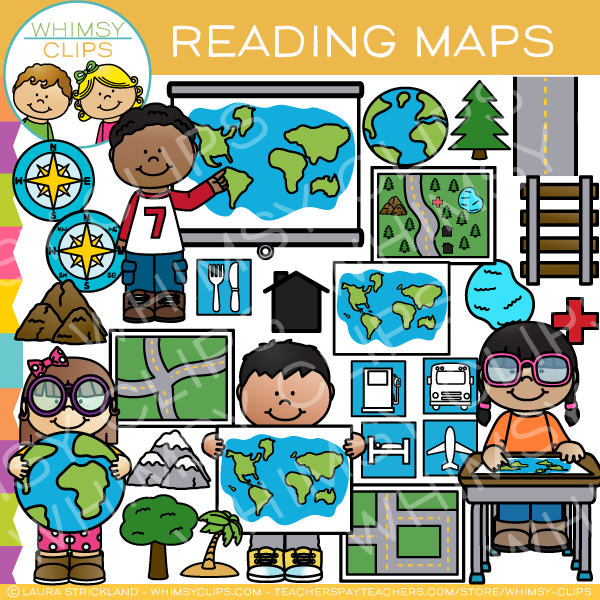 Reading Maps Skills Clip Art
