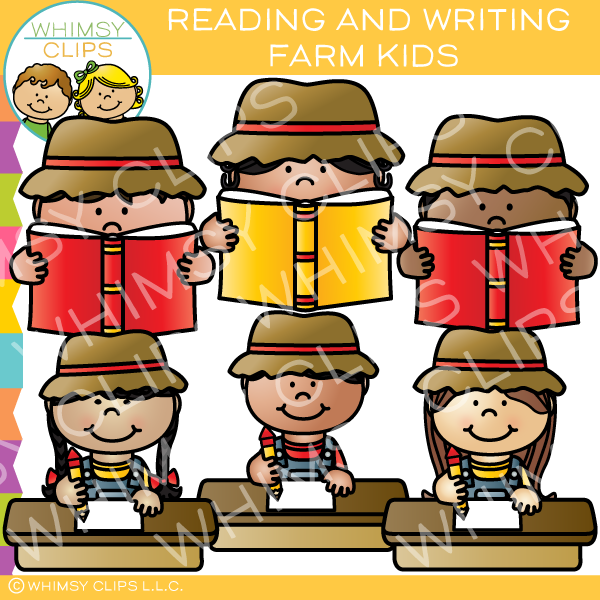 Reading And Writing Farm Kids Clip Art