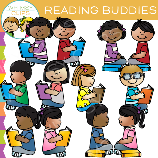 Buddies Reading Clip Art