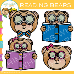Free Reading Bear Clip Art