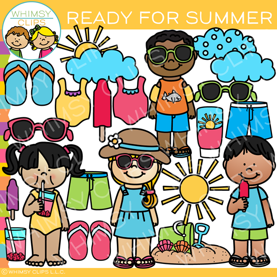 Kids Ready For Summer Clip Art Images Illustrations Whimsy Clips