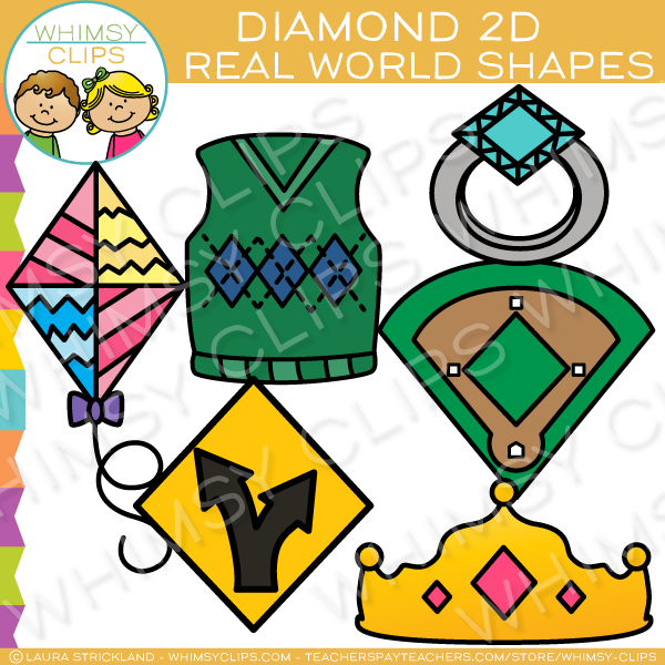 Diamond 2D Shapes Real Life Objects Clip Art