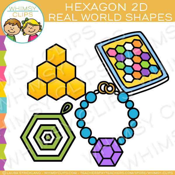 Hexagon 2D Shapes Real Life Objects Clip Art