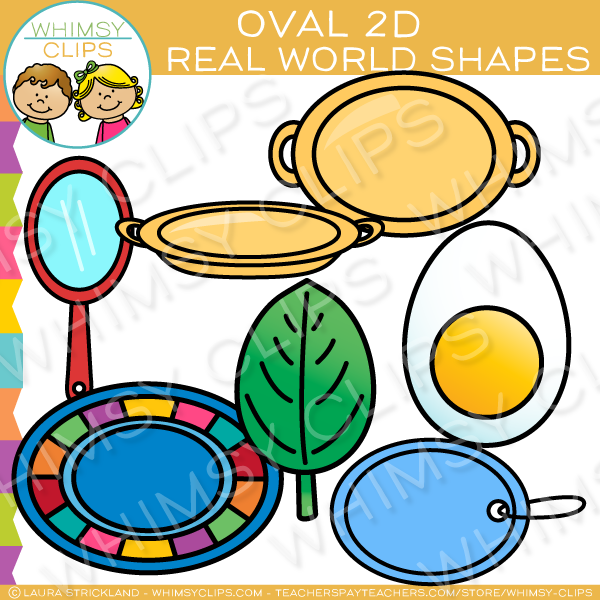 Oval 2D Shapes Real Life Objects Clip Art