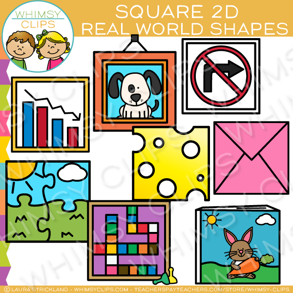 Square 2D Shapes Real Life Objects Clip Art