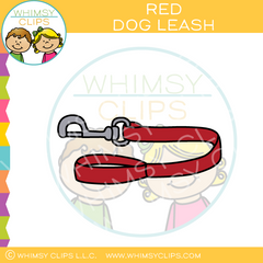 Red Dog Leash Clip Art