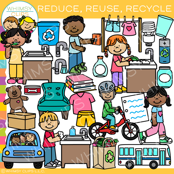 Reduce, Reuse, Recycle Clip Art