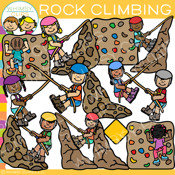 Kids Rock Climbing Clip Art