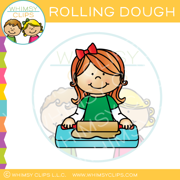 Girl Rolling Cookie Dough Clip Art