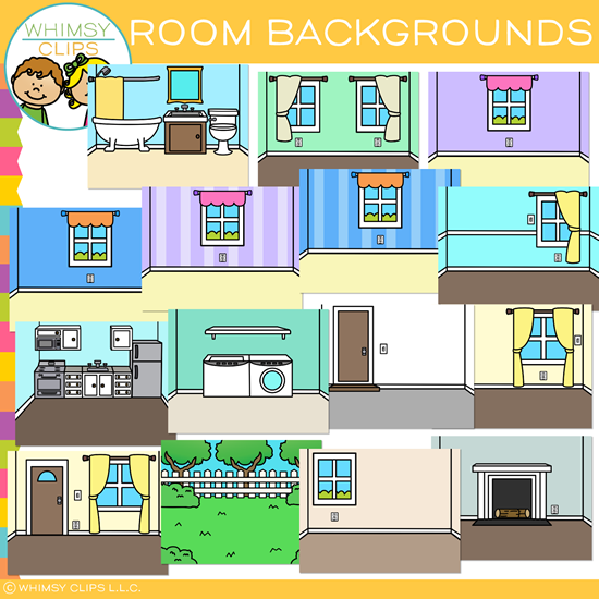 Room Clip Art: House Rooms Backgrounds Clip Art , Images & Illustrations