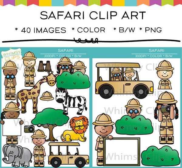 Cute Kids Safari Clip Art