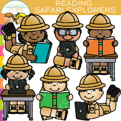 Safari Kids Reading Clip Art