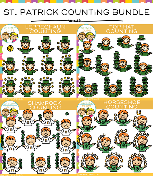 Saint Patrick's Day Counting Clip Art Bundle