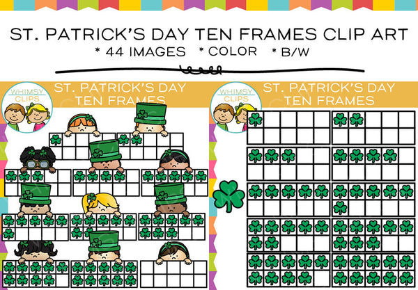 St. Patrick's Day Ten Frames Clip Art