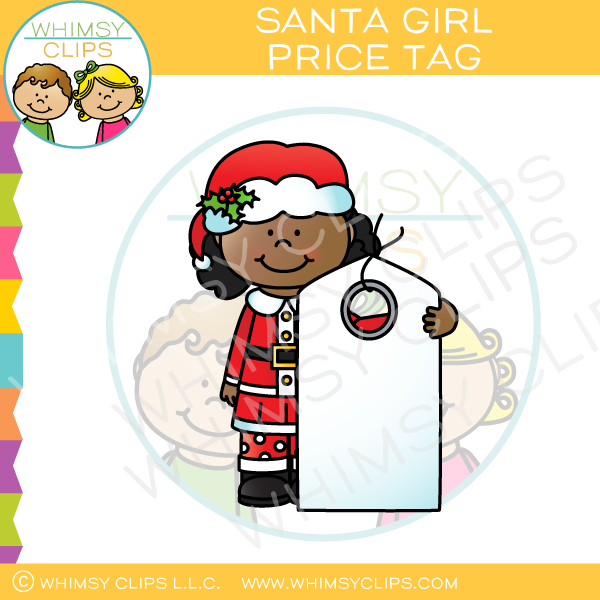 Santa Girl with a Price Tag Clip Art