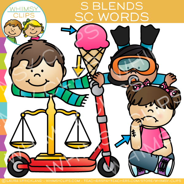 S Blends Clip Art - SC Words - Volume One