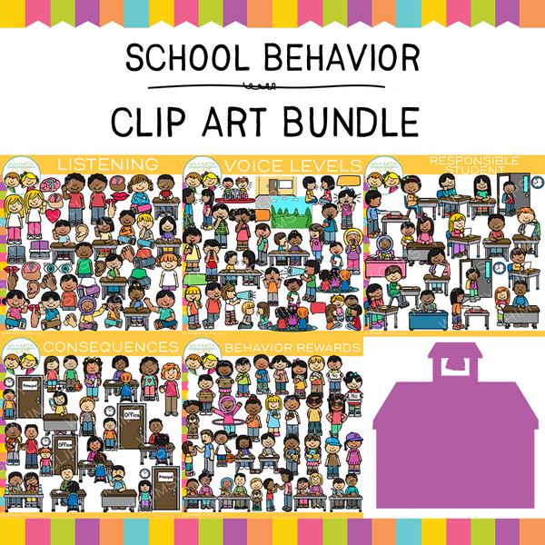 Kids School Behavior Clip Art Bundle