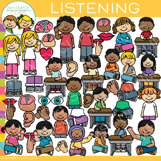School Kids Listening Clip Art