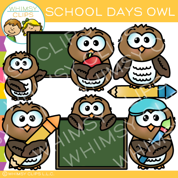 Cute School Day Owl Clip Art