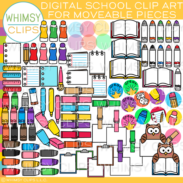 Moveable School Clip Art for Paperless Resources