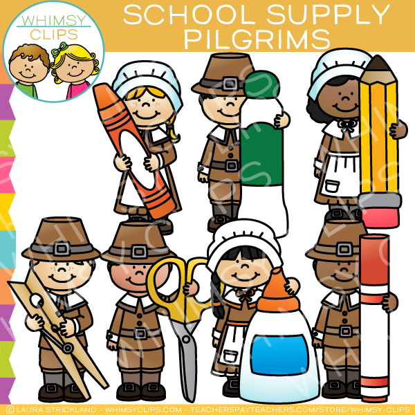Pilgrims with School Supplies Clip Art