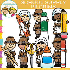 School Supply Pilgrims Clip Art