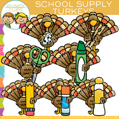 School Supply Turkeys Clip Art