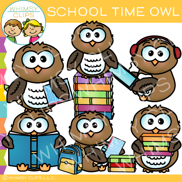 Adorable School Time Owl Clip Art