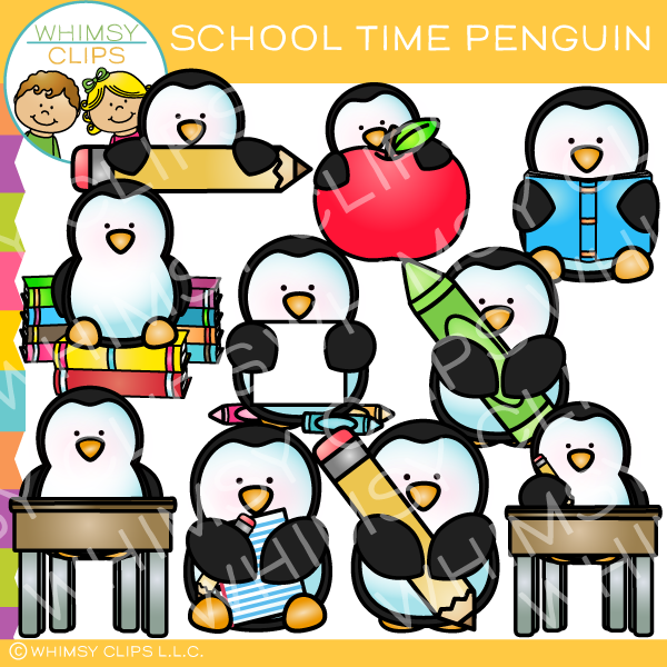 Cute School Time Penguin Clip Art