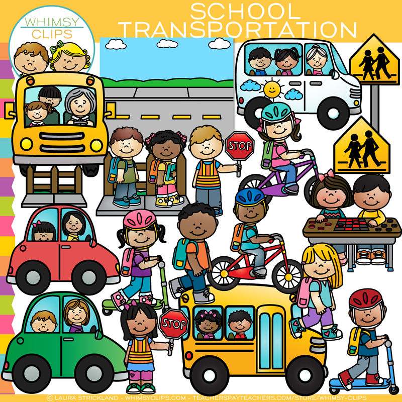 Top School Transportation Clip Art , Images & Illustrations | Whimsy Clips AZ47