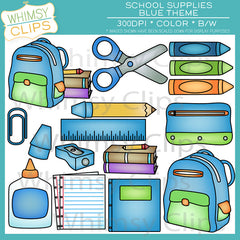 Blue School Supplies Clip Art