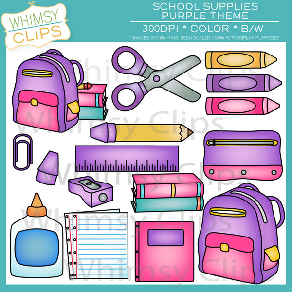 Purple School Supplies Clip Art