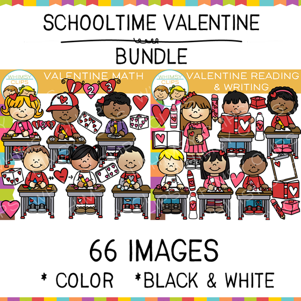 Schooltime Valentine Clip Art Bundle