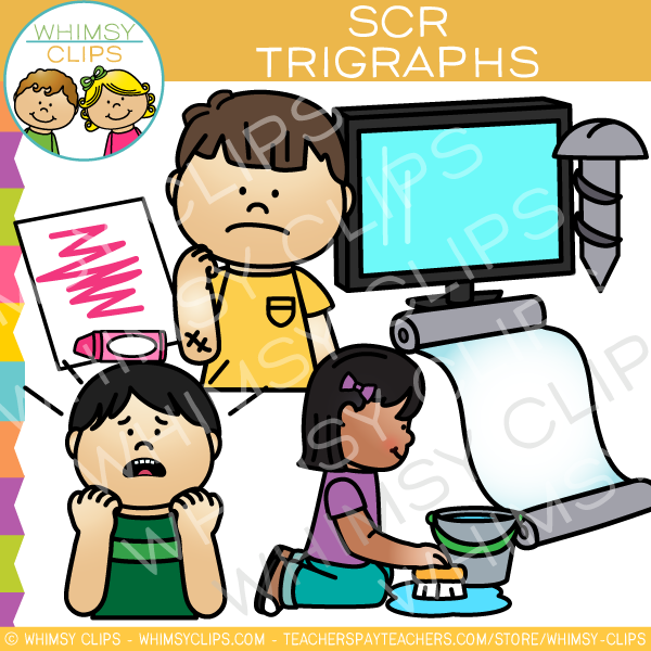 Beginning Trigraphs  Clip Art - SCR Words