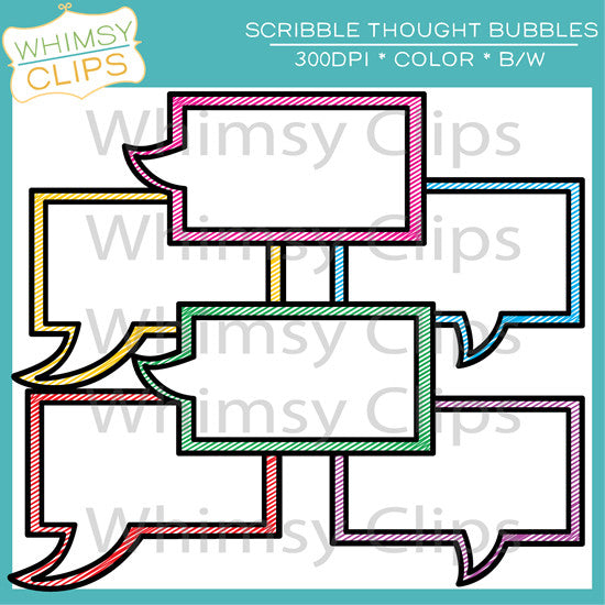 FREE Scribble Thought Bubbles Clip Art