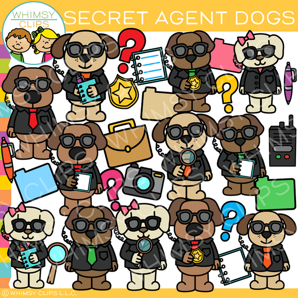 Secret Agent Spy Dogs Clip Art