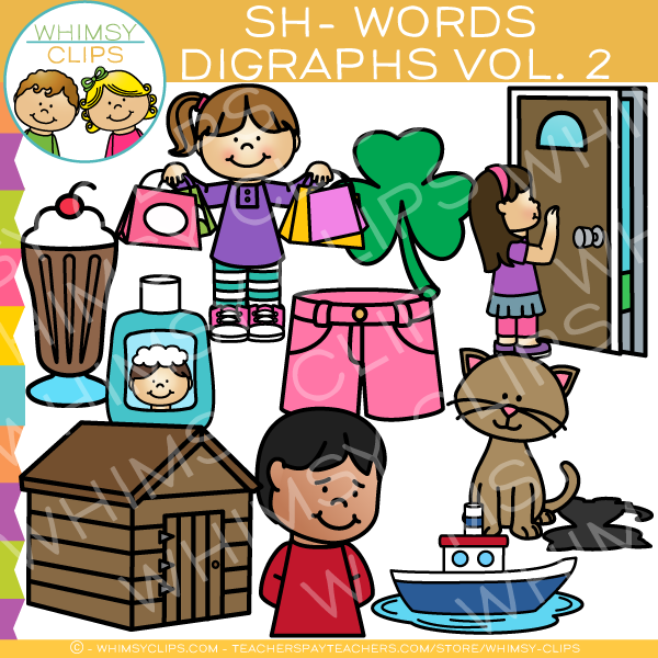 Beginning Sh-Words  Clip Art - Digraphs Volume Two