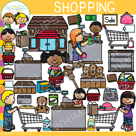 Kids Shopping Clip Art