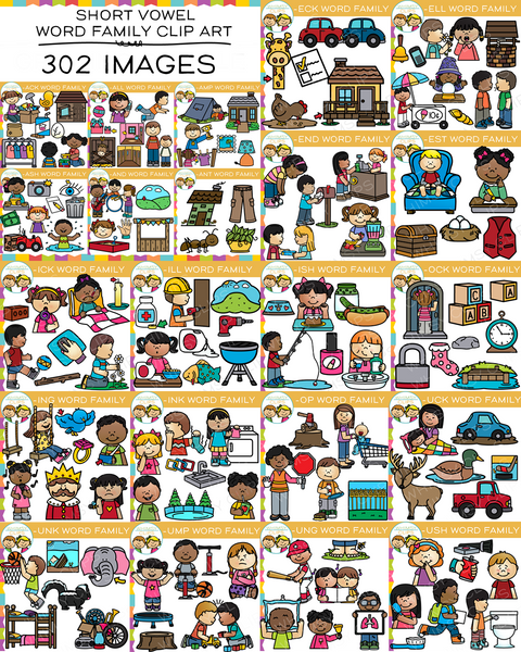 Short Vowel Word Family Clip Art  - Bundle