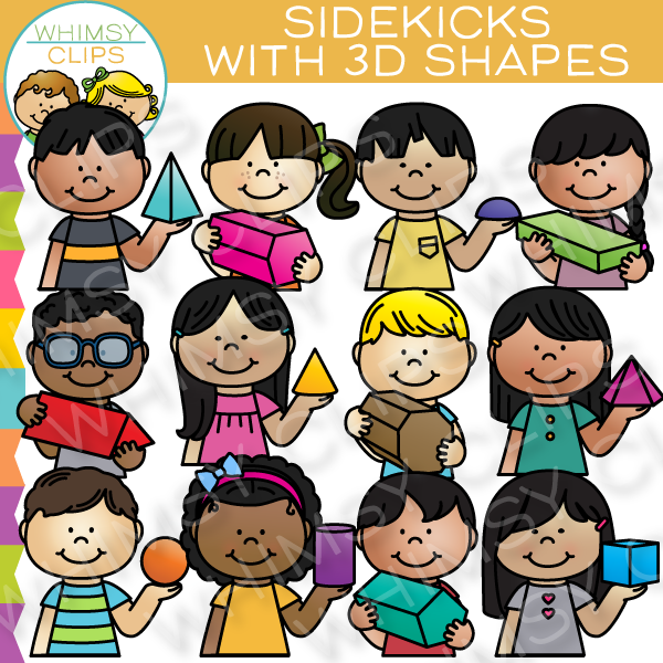 Sidekicks with 3D Shapes Clip Art