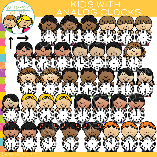 Kids with Analog Clocks Clip Art