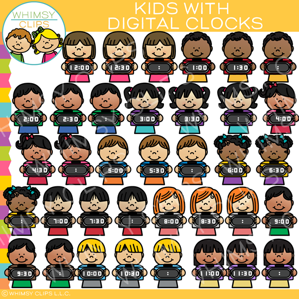 Kids with Digital Clocks Clip Art